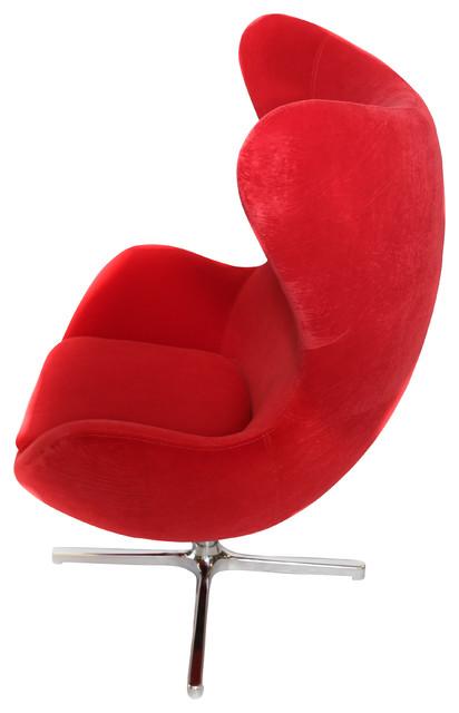 Superbe Muna Egg Shape Contemporary Armchair, Red