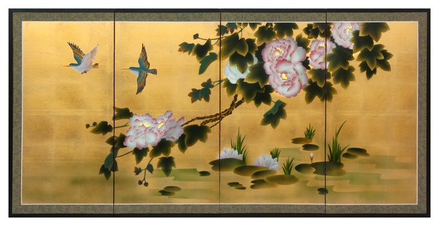"""36"""" Lilly Pad Pond on Gold Leaf"""
