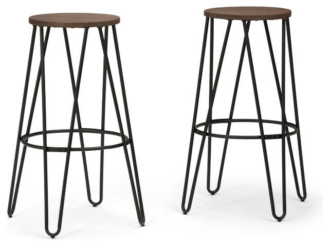 "Simeon 30"" Metal Bar Stool With Wood Seat."