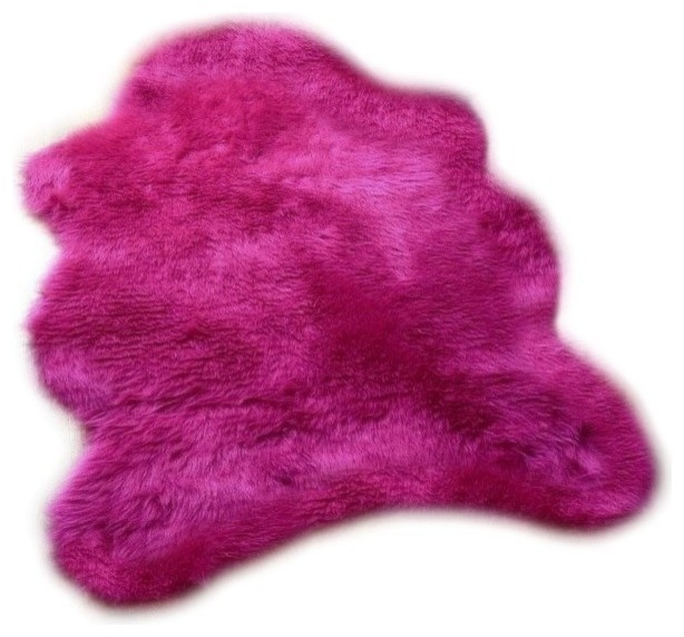 Highlighter Hot Pink Gy Faux Fur Sheepskin Accent Rug 2 X4 Contemporary