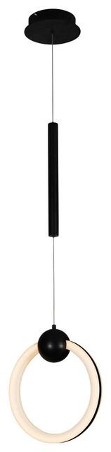 "Capella 12"" Integrated Led Pendant, Black."