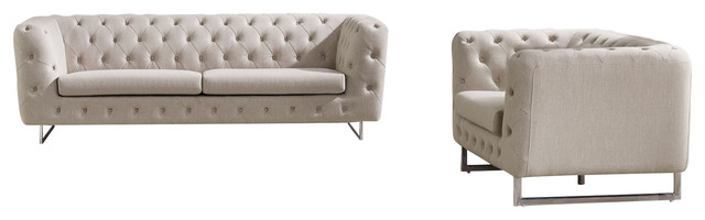 Catalina Fabric Tufted Sofa And Chair Set With Metal Leg, Sand.