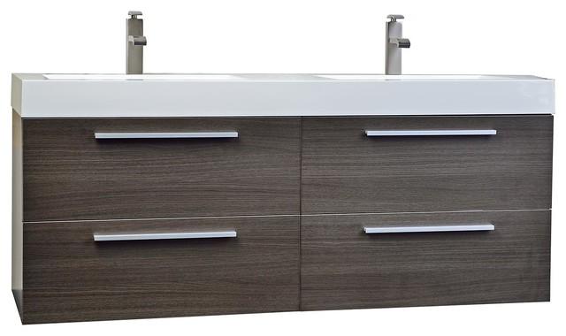 Enjoyable 54 Modern Double Sink Vanity Set With Drawers Gray Oak Beutiful Home Inspiration Truamahrainfo