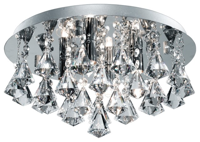 Hanna Bathroom Ip44 4 Light Chrome Crystal Flush Ceiling Transitional Lights By Washington Lighting And Interiors