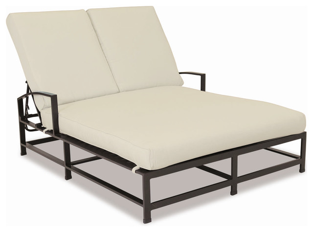 La Jolla Double Chaise With Cushions, Cushions: Gray.
