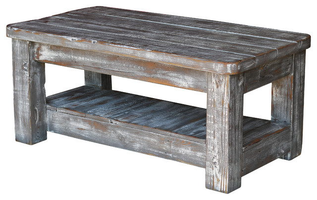 Weathered Gray Coffee Table With Shelf Farmhouse