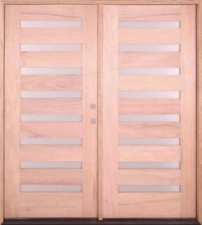 Exterior Modern Mahogany 8 Light Double Door ...