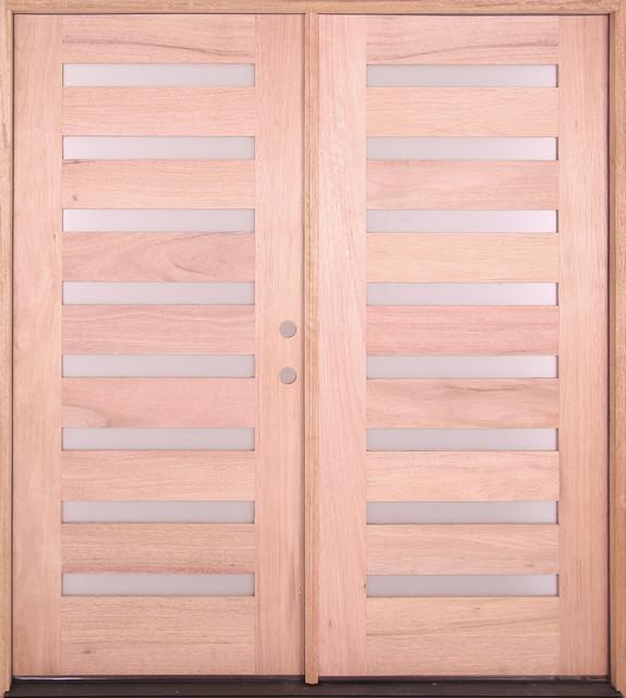 Exterior Modern Mahogany 8 Light Double Door Scandinavian Front
