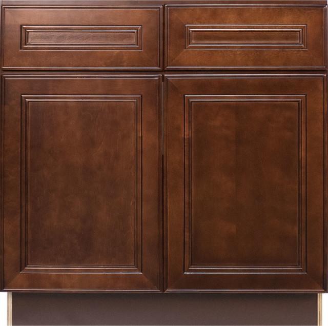 Cherry mahogany brown leo saddle sink base kitchen cabinet for Cherry mahogany kitchen cabinets