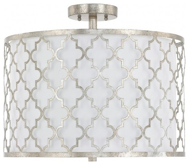 Capital Lighting Ellis Dual Mount 3-Light Drum Pendant, Antique Silver.