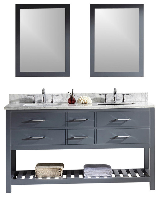Gela Double Vanity With Carrara Marble Top Gray Without Mirror