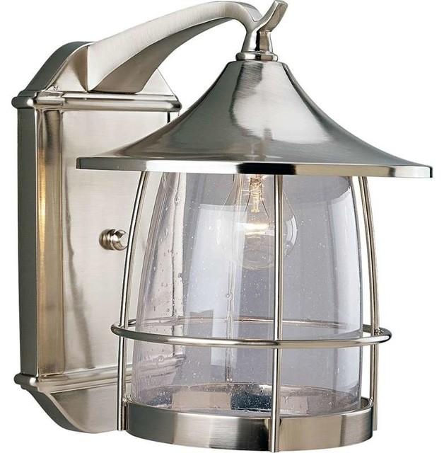 Prairie 1-Light Wall Lantern, Brushed Nickel, Clear Seeded Glass.