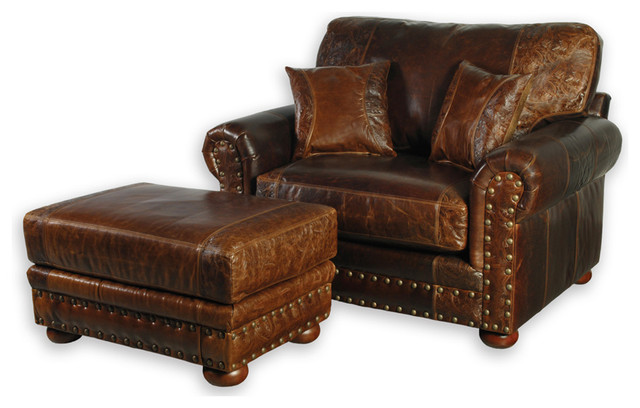 Western Style Leather Oversized Chair southwestern-armchairs-and-accent- chairs