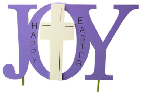 Easter Religious Outdoor Yard Decoration Wood Sign Joy With Cross