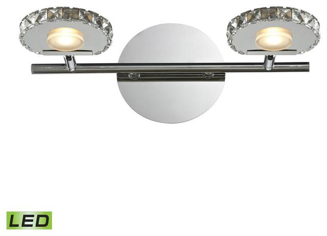 "Avalon Polished Chrome Bathroom Vanity Ceiling Lights: Polished Chrome Spiva 2-Light 14"" LED Vanity Fixture"