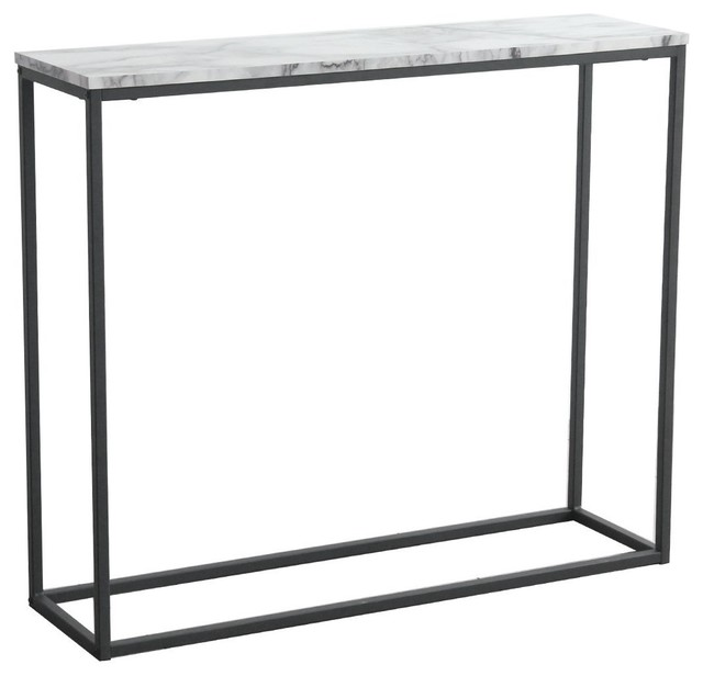 Sofa Console Table Marble Print Top Steel Frame Accent White Narrow ...