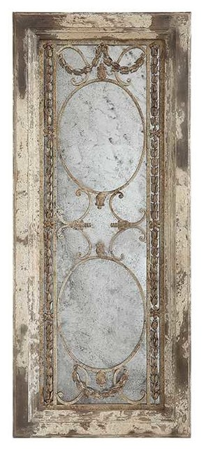 Heavily Distressed Pine And Metal Framed Antiqued Mirror