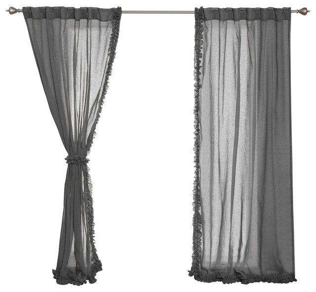"Small Ruffle Curtains, Dark Gray, 52""x84"", Set Of 2."