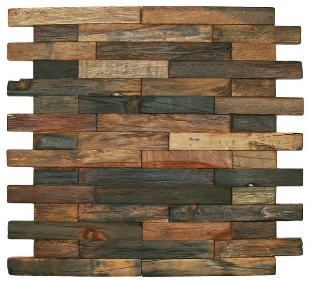 Reclaimed Boat Wood Tile Interlocking Bricks Sample