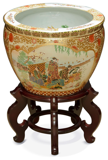 14 hand painted satsuma design fishbowl with stand for Asian furniture westmont il