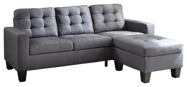 Refined Sectional Sofa, Gray Linen.