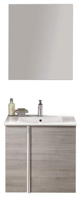 24 Floating Bathroom Vanity Set Royo Onix With 2 Doors Sandy Gray Oak
