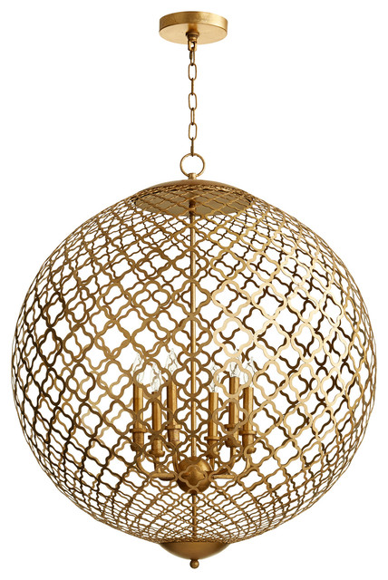 Skyros 6-Light Pendant In Gold Leaf.