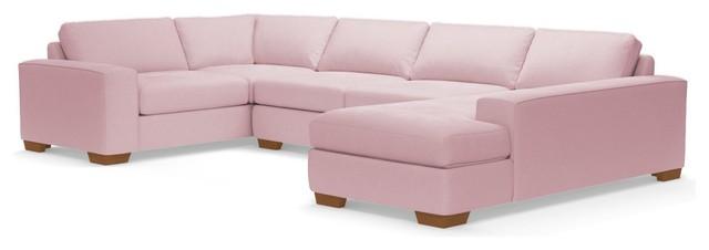 Melrose 3-Piece Sectional Sleeper Sofa, Blush Velvet, Chaise On Left.