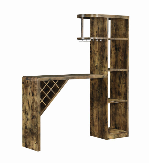 Wooden Bar Unit With Open Compartments And Diagonal Wine