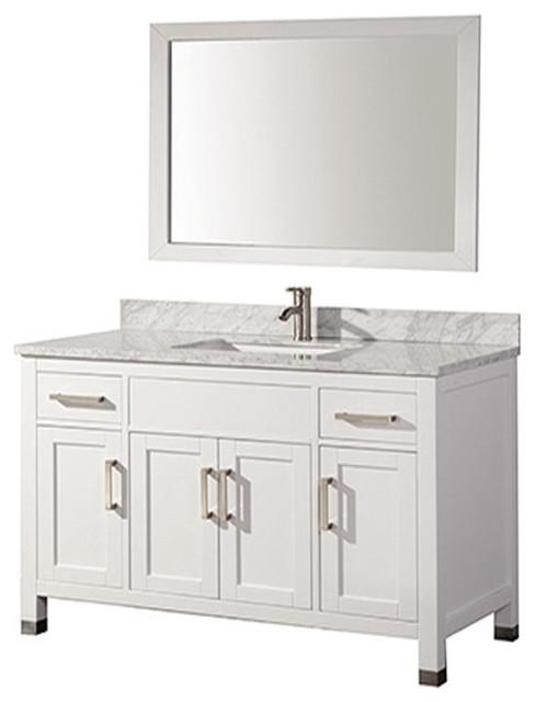 Ricca Single Sink Bathroom Vanity Set, White, 60&x27;&x27;.