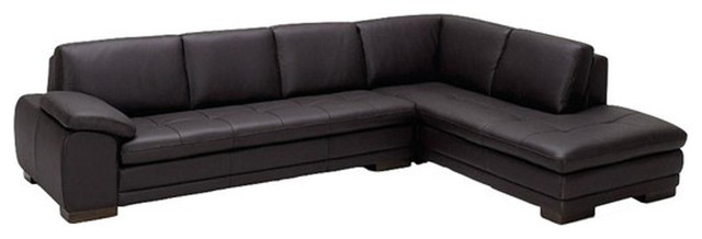 625 Modern Italian Leather Sectional Sofa, Brown, Right Hand Facing Chaise.