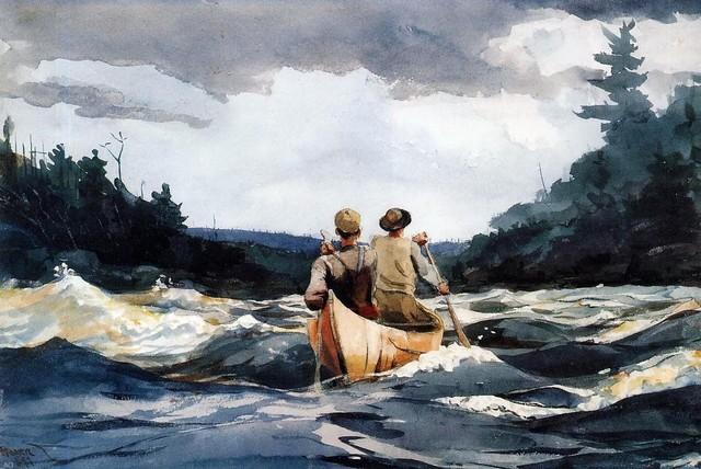 "Winslow Homer Canoe in the Rapids, 16""x24"" Premium Archival Print"