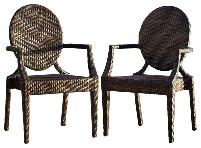 Townsgate Pe Wicker Outdoor Arm Chair Set Of 2