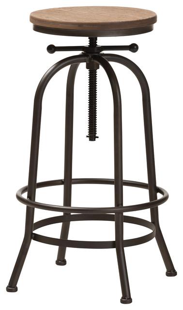 Outstanding Baxton Studio Aline Wood And Rust Steel Adjustable Swivel Bar Stool Uwap Interior Chair Design Uwaporg