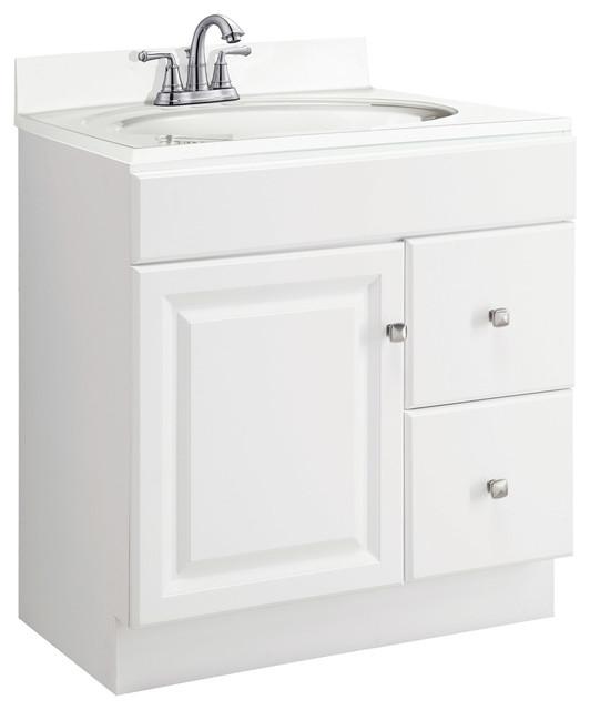 Wyndham 30 X21 White 1 Door 2 Drawer Semi Gloss Finish Traditional