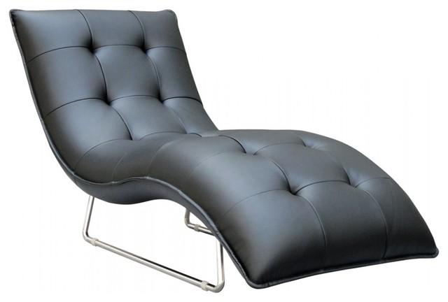 divani casa samarium modern black leather chaise chairs - Indoor Chaise Lounge Chairs