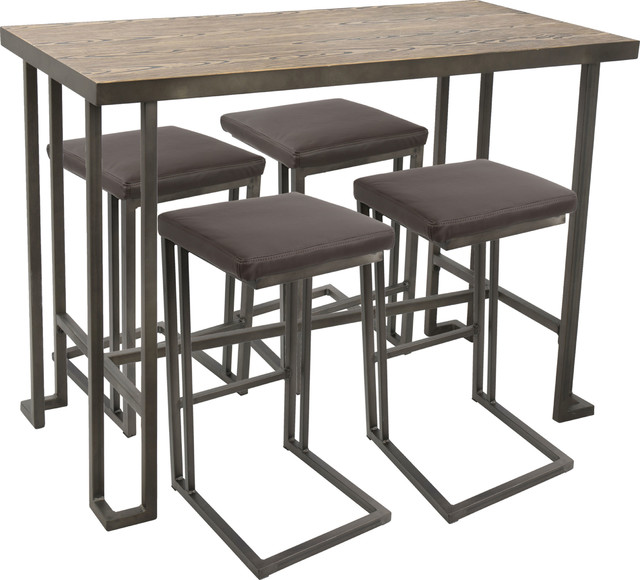 Lumisource Roman 5-Piece Counter Height Dining Set, Antique, Brown.