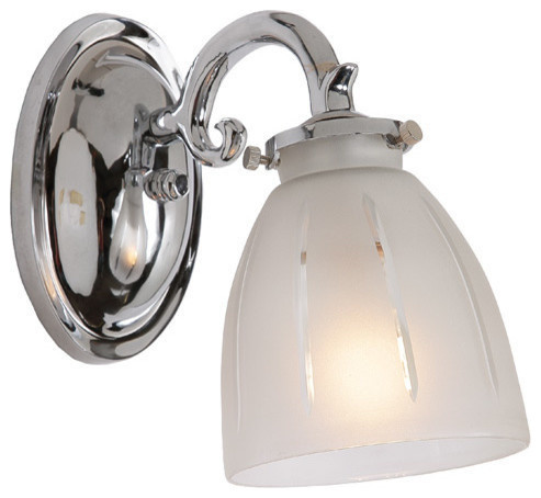 One Light Bath Sconce With Frosted Glass Traditional Bathroom Vanity Lighting By Jvi Designs