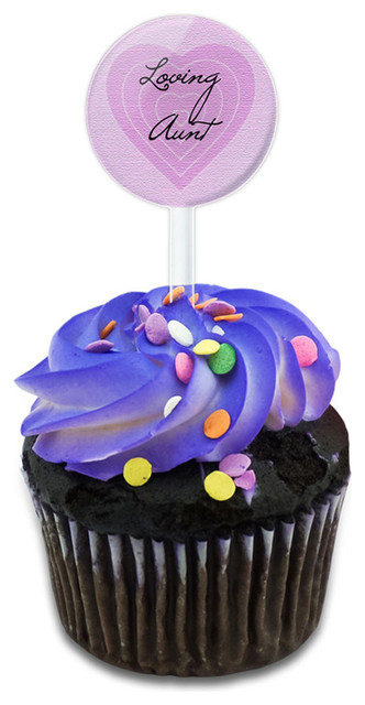Loving Aunt On Pink Hearts Cupcake Toppers Picks Set.