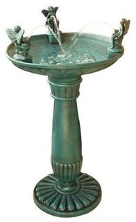 Alpine Trio Of Angels Resin Outdoor Bird Bath Fountain - Traditional - Bird Baths - by Hayneedle