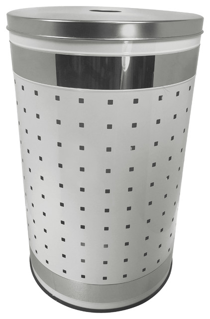 White And Polished Stainless Steel Laundry Bin And Hamper.