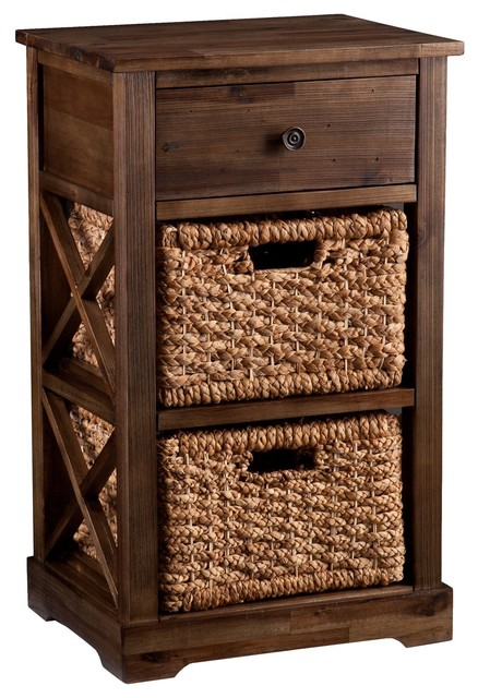 Southern Enterprises Antique Brown Chest Compact Space Saving Storage Organizer