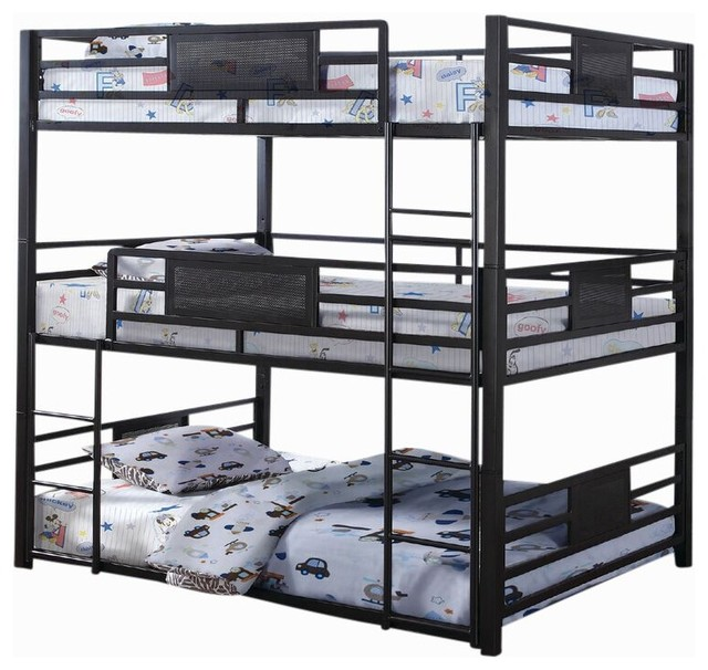 Triad Full Size Metal Triple Bunk Bed Industrial Beds