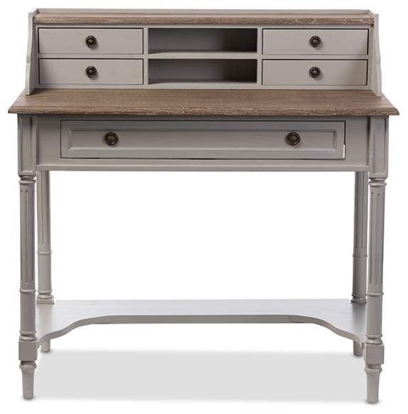 Edouard Distressed Two Tone Writing Desk White And Light