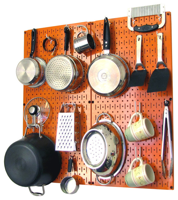 Kitchen Pegboard Organizer Pots And Pans, Orange Pegboard And White  Accessories Contemporary Pot