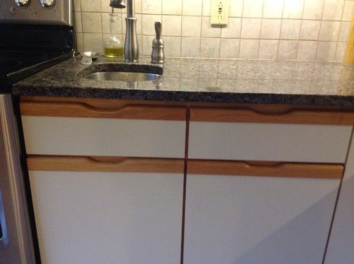 How to modify grooved grooved handles on kitchen cabinetry.