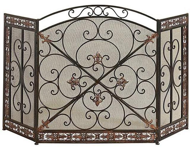 Antique rustic metal mesh fireplace screen victorian fireplace screens by - Houzz fireplace screens ...