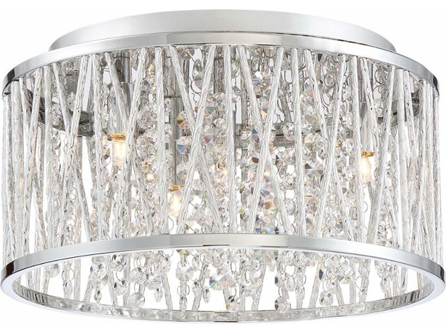 Quoizel Pccc1614c Platinum Crystal Cove Flush Mount In Polished Chrome.