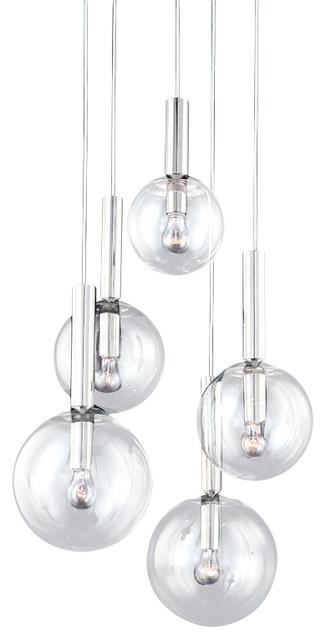 Sonneman Lighting 3765.35 Bubbles 5-Light Pendant Light - Polished Nickel contemporary-pendant-  sc 1 st  Houzz : sonneman pendant lighting - azcodes.com