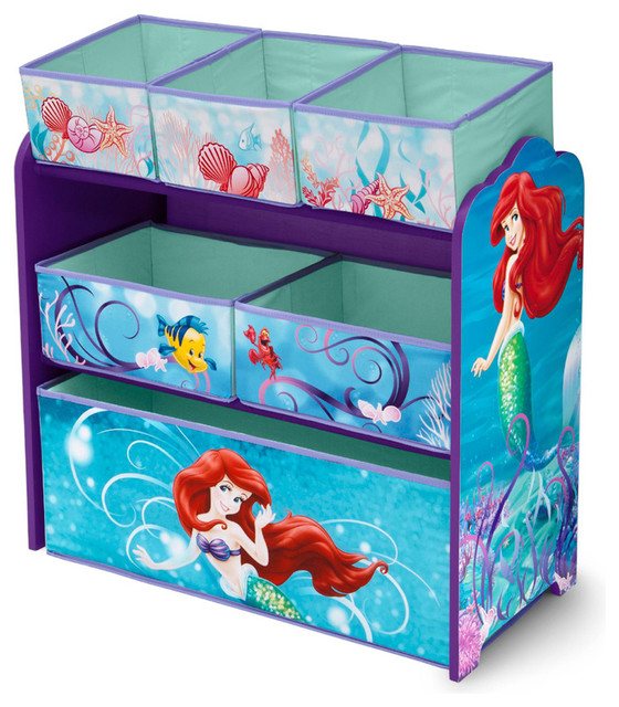 Girls Disney Little Mermaid Blue Multi Bin Toy Book Storage Organizer Box Contemporary Toy